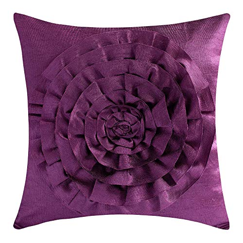 The White Petals Plum Throw Pillow Cover (3D Flower, 18x18 inch, Pack of 1)