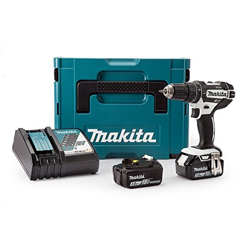 Makita DHP482RFWJ Combi Drill (Black and White Edition) 18 V with 2 x 3.0...