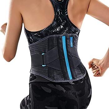 T TIMTAKBO Lower Back Brace W/Removable Lumbar Pad for Men Women Herniated Disc,Sciatica,Scoliosis,Waist Pain, Lumbar Support Belt (Gray/Blue, S/M)