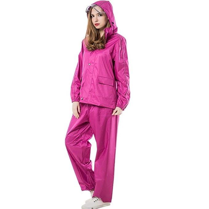 Pezzi Giacca Pioggia Incappucciato Chic Poncho Pantaloni Antipioggia Manica Moda Lunga Donna Casual Elegante Due Impermeabile xn4YqzT