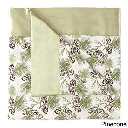 1 Piece 60 x 90 Inch Twin Pinecone Lightweight Sheet Style Throw Blanket for Kids, Light Green Solid Color Fleece Micro Flannel Woven Knit, 4 Inch Matching Dyed Satin Classic Traditional Polyester
