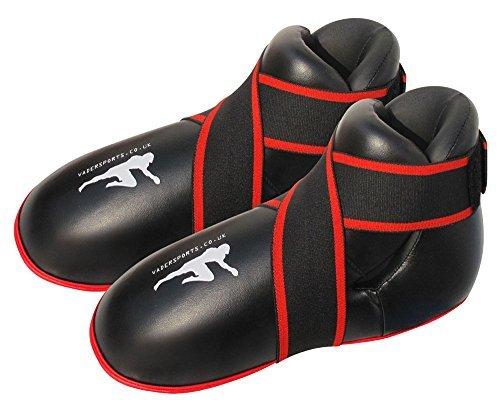 V-SPORTS ブラック キックボクシングブーツ セミ/フルコンタクト キックボクシングブーツ フットパッド キッズ/大人用 キックボクシング フットパッド (Mサイズ/大人靴 6-7)
