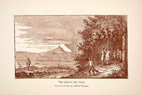 1892 Print Grotta del Cane Pozzuoli Italy Poisonous Gas Cave Raphael Morghen Art - Relief Line-block Print