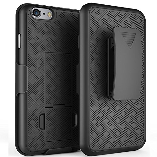 (iPhone 6s Case, De-bin iPhone 6s Case with Belt Clip Super Slim Hard Armor Cover Holster Case, iPhone 6s 6 s Cases with Kickstand and Belt Clip Case for Apple iPhone 6s Phone - Black)