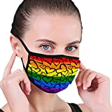Washable Reusable Mouth Cover Gay Pride Rainbow Hearts Hand rawn Ink Brush st One Size