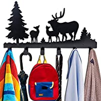 Coat Hooks Wall Mounted,Kathy Metal Towel Hook Rack Forest Tree Moon Cloud Animal Wolf Deer Hanger for Bathrooms Door Hanging Key Robe Bag Umbrella