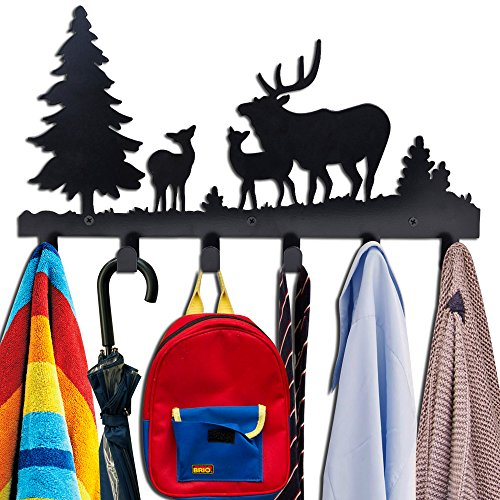 Cabin Towel Racks (Coat Hooks Wall Mounted, Kathy Metal Towel Hook Rack Moon Cloud Animal Deer Hanger for Bathrooms Door Hanging Key Robe Bag Umbrella- 6 Hooks, black)