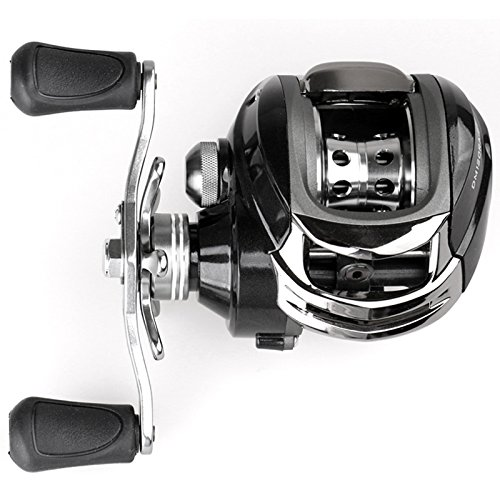 SANLIKE Fishing Baitcasting Reel Whitemax Low Profile Baitcasting Fishing Reel – 4 +1 Shielded Bearings, 17.5 Lb Carbon Fiber Drag