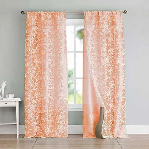 kensie Heidilee Floral Sheer Burnout Pole Top Window Curtain Drapes for Bedroom, Livingroom, Kids Room, Children, Nursery-Assorted Colors-Set of 2 Panels, 37 x 96 Inch, Peach, 2 Piece