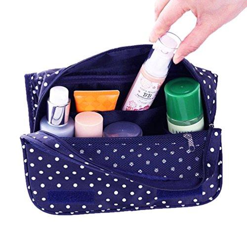 Amoyie 2- teilig Kulturbeutel Kulturtaschen-Set, 1 Taschen aufhängen und 1 Zahnbürstenhalter, Waschbeutel Wasserabweisend, Kosmetiktasche Groß, Toilettentasche Reise Damen Männer Kinder Marineblau
