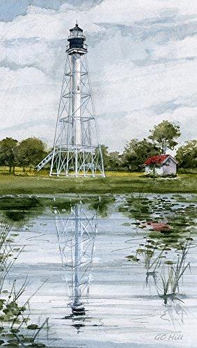 Cape San Blas Lighthouse Port St. Joe Florida Watercolor Matted Art Prints (4x7) - Lighthouse Watercolor