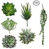 Pack of 6 Fake Succulent Plants | Artificial Succulent Plants Unpotted Fake Plants Artificial Plants | Realistic Floral Home Decor Assorted Aloe Faux Mini Succulent Flowers Bulk Mixed Accent