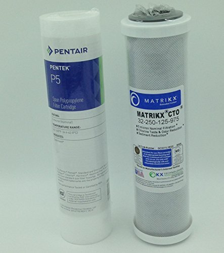 Water Filter Cartridge Replacement Set includes KX MATRIKX CTO 10-Inch Carbon Block Filter Cartridge and Pentek P5 5 Micron Sediment Cartridge