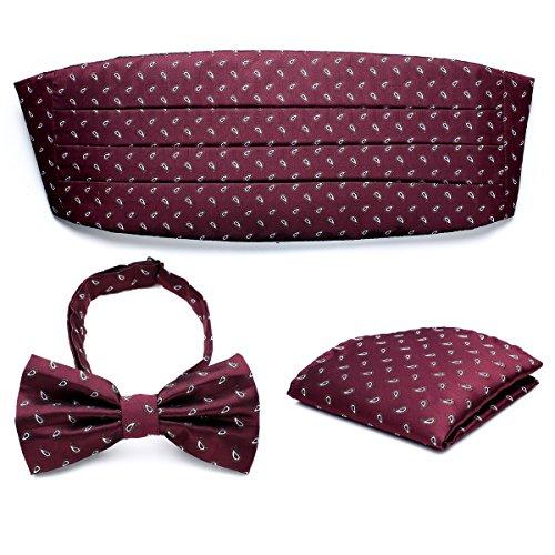 PenSee Mens Formal Paisley Jacquard Pre-tied Bow Tie & Hankerchief & Cummerbund Set - Various Colors ()