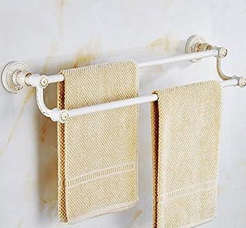 Toallas de asibg Home blanco y dorado Vintage toallero de barra doble de toallas de baño accesorios para baño toalla Rack: Amazon.es: Hogar