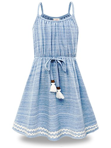 Bonny Billy Big Girls Spaghetti Straps Solid Cotton Kid Beach Dress 10-11 Years Blue