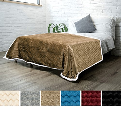 PAVILIA Premium Chevron Sherpa Twin Bed Blanket for Couch Sofa | Super Soft, Plush, Fuzzy Lap Blanket | Reversible Textured Velvet Taupe Throw | 60x80 Inches All Season