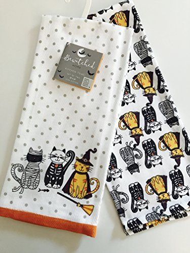 Costumed Kitty Cats Halloween Kitchen Towels Set of 2 By Bewitched