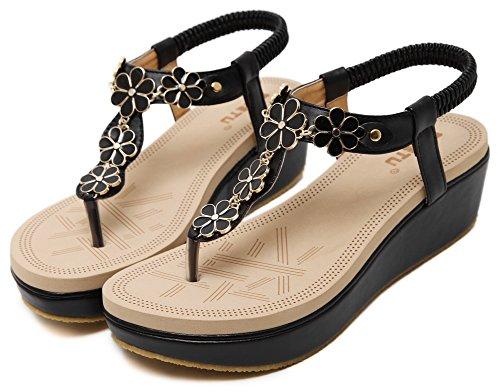 Vocni Women's Flower Platform Thong Wedge Sandals Black HIFD6gD