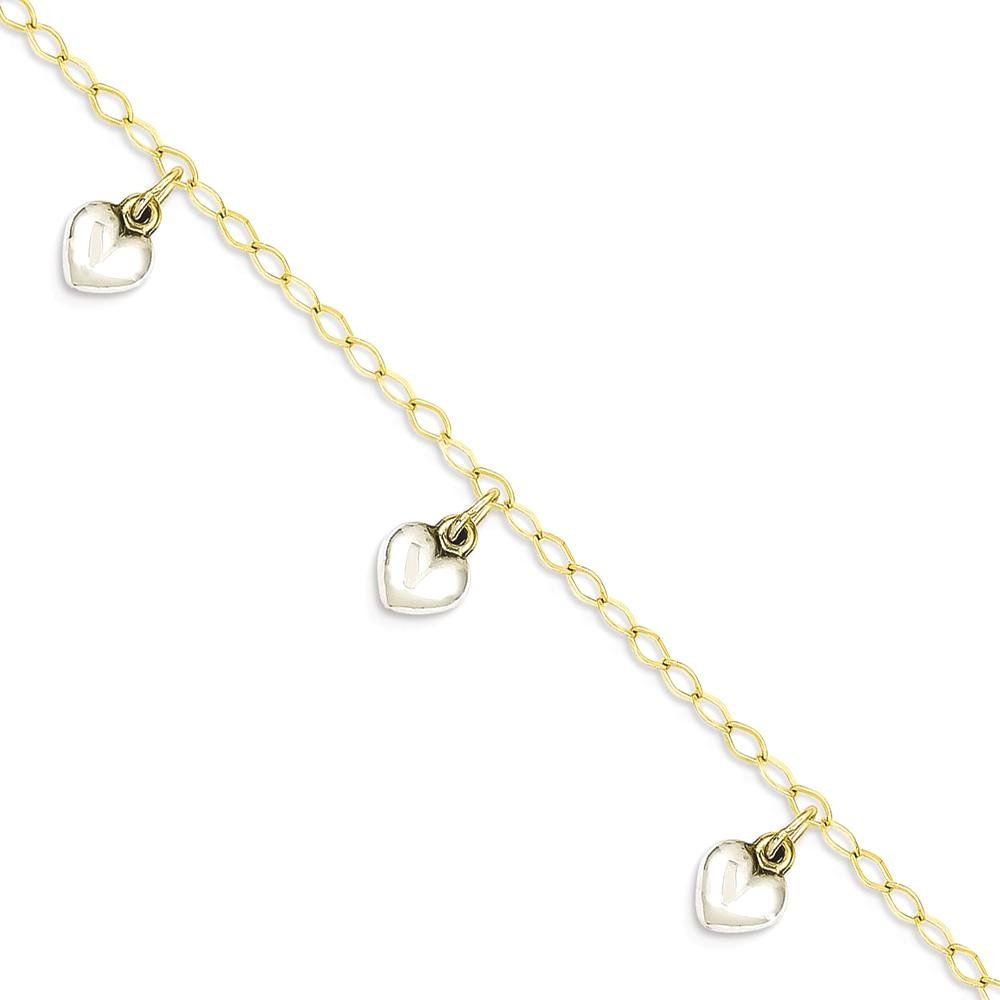 ICE CARATS 14k Two Tone Yellow Gold Dangle Heart Baby Bracelet 5.5 Inch Fine Jewelry Gift Set For Women Heart