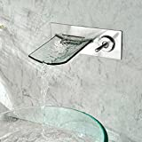 Lovedima Chrome Wall Mount Waterfall Bathroom Sink Faucet with Glass Spout Basin Bath Tap (Brushed nickel)