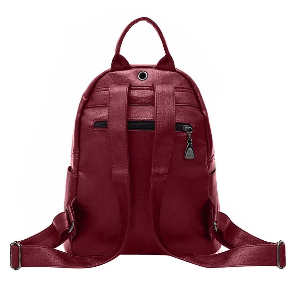 ZYSTMCQZ vintage dammode ryggsäck designer läder ryggsäck skolväskor för flickor Preppy resa vardagliga väskor (färg: blå) BLÅ