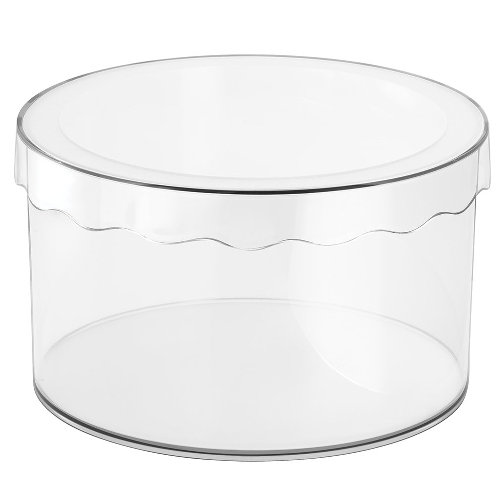 InterDesign Clarity Sombrerera con Tapa peque/ña Caja de Almacenamiento Redonda en pl/ástico para pa/ñuelos Sombreros y Otros Accesorios Transparente