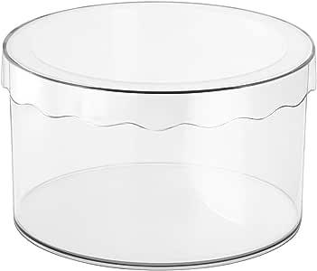 InterDesign Clarity Sombrerera con Tapa, pequeña Caja de Almacenamiento Redonda en plástico para pañuelos, Sombreros y Otros Accesorios, Transparente: Amazon.es: Hogar