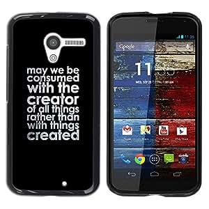 TopCaseStore / la caja del caucho duro de la cubierta de protección de la piel - Creator Christian Black Text Motivational Quote - Motorola Moto X 1 1st GEN I XT1058 XT1053 XT1052 XT1056 XT106