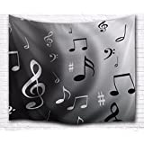 "A.Monamour Grey Backgrounds Black Musical Melody Print Music Lover Theme Textile Fabric Wall Decoration Wall Hanging Tapestry for Kids Boys Girls Bedroom 153x130cm/60""x51"""