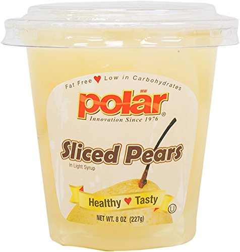 Pear Slices - MW Polar Fruit Cup, Sliced Pears in Light Syrup with Spork, 8-Ounce (Pack of 12)