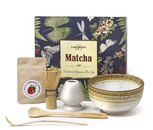 Vireo Bloom Set de Utensilios de preparacion de la Ceremonia de te Verde Matcha - 450 ml 1 Chawan bowl (Chawan), Bata (Chasen), Stand (Naoshi), Spade (Chashaku), Japanese traditional kit