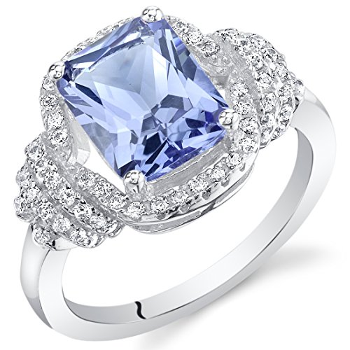 (Peora Simulated Tanzanite Sterling Silver Cocktail Ring)