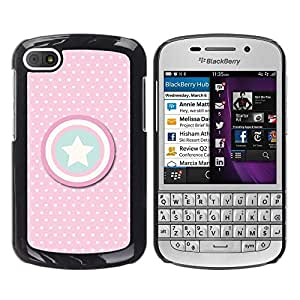 LOVE FOR BlackBerry Q10 Captain Pink Polka Dot America Shield Personalized Design Custom DIY Case Cover