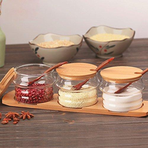 Huluwa spice jars glass seasoning box set salt sugar spice for Buy kitchen cookware