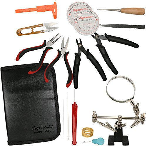 Deluxe 16pc Jewelry Making Supplies Kit - Jewelry Pliers, Magnifier Stand & Bead Crimper Great for Beading, Wire Wrapping, This Crafting Kit Does it All in a Professional Storage - Maker Supplies Jewelry