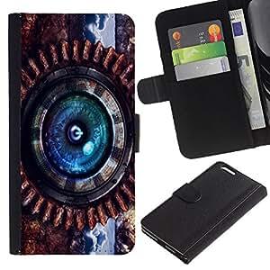Billetera de Cuero Caso Titular de la tarjeta Carcasa Funda para Apple Iphone 6 PLUS 5.5 / Steam Punk Power / STRONG