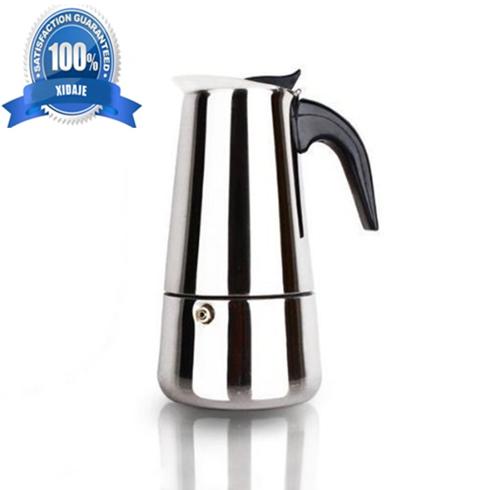 100 ML & 2 Cup XIDAJE Stainless Steel Moka Stovetop Espresso Maker Latte Percolator Stove Top Italian Coffee Maker Pot 丨 Use On Gas Electric And Ceramic Cooktops