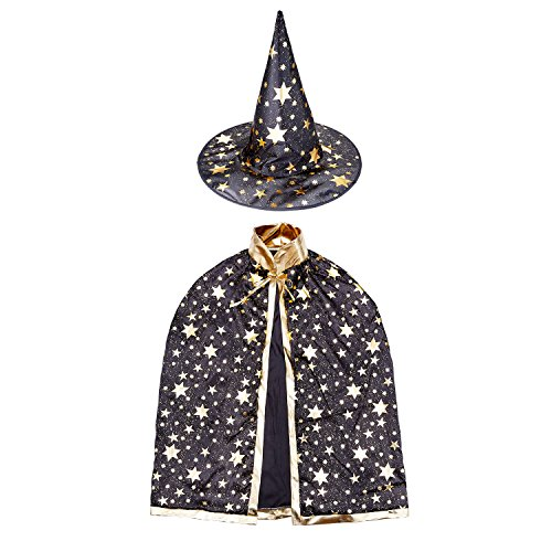 For Costumes Kids Wizard (Halloween Witch Wizard Costume Set with Cloak and Hat, Unisex Cape Set for Kids Cosplay)