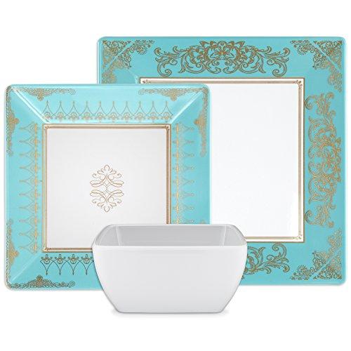 Q Squared Pembroke 12-Piece Professional Grade, BPA-Free, Shatterproof, Melamine Dinnerware Set, Many Collection Options