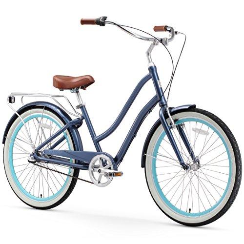 Road Vintage Bicycles (sixthreezero EVRYjourney Women's 3-Speed Step-Through Hybrid Cruiser Bicycle, Navy w/Brown Seat/Grips)