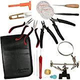 This Jewelry Making Tool Kit Has It All, Jewelry Pliers, Helping Hand Magnifier Stand, Needle Nose Pliers, Wire Wrapping Tools, Bead Crimper Pliers, Beading Needles, Beading Line, Thread Snip, Caliper, Awl, Tweezers, a Threader It Is Ready For Gifting