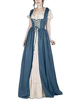 Mujer Disfraz Medieval Vestidos Largos Maxi Renacimiento Gótico Vestido Azul 5XL