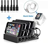 AIZBO Charging Station with QC 3.0 Quick Charge,6-Port USB Charger Docking Station with iWatch Stand