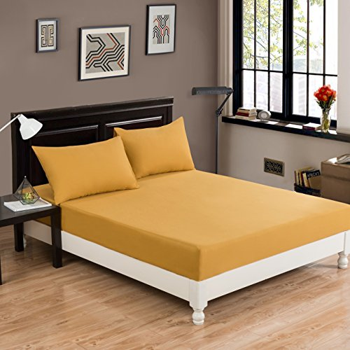 DaDa Bedding Luxury Dark Elegance - Cotton Fitted Sheet w/Pillow Cases Set - Neutral Solid Warm Mustard Yellow - King - 3-Pieces (Yellow Pillow Mustard)