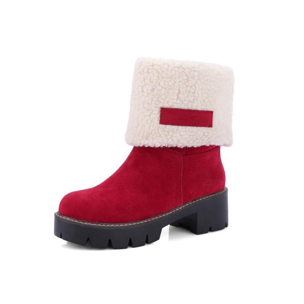 Hy Frauen-Winter-warme Schnee-Stiefel-Starke Unterseite Wasserdichte große Größen-Winter-Aufladungen Damen-Skifahren-Schuhe rot schwarz (Farbe   Rot Größe   39)