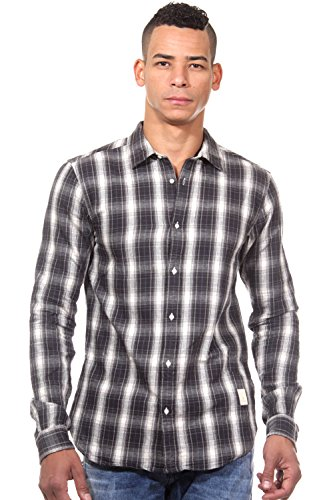 SCOTCH & SODA Langarmhemd slim fit (schwarz/weiss)