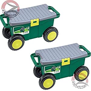 ZUMZ 2 X NEW 20 ROLLING GARDEN SCOOTER PLANTER TOOL STORAGE