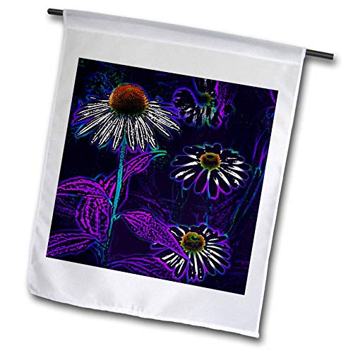 3dRose Stamp City - Flowers - Photograph of Playful coneflowers Digitally Enhanced in Photoshop. - 18 x 27 inch Garden Flag (fl_295247_2)
