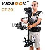 Videook 2-15Kg Carbon Fiber Stabilizer Sled with Support Dual Arm, Stabilizer and Vest for Taking Videos and Photos